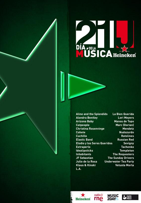 Cartel para concurso del Día de la música Heineken