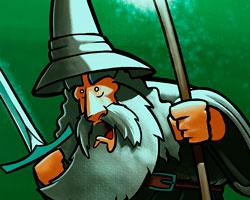 Gandalf el Gris con su vara y su espada Glamdring.